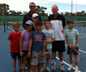 Brett Miners, Tony Roche and junior tennis player